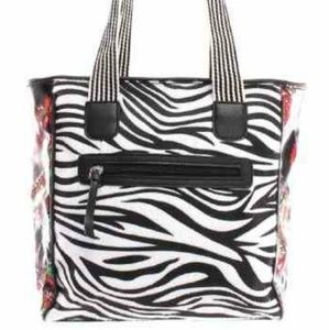 Zebra striped tote bag with floral detail